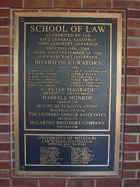 Lewis University Email >> MU in Brick and Mortar - Hulston Hall - 1990 Dedication Plaque