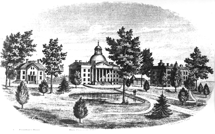 Contemporary artist's rendering of the MU Columbia campus in 1872, shortly after completion of Switzler Hall seen on the right above.