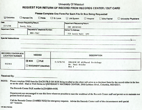 Policy #11: UM-System Records Center Procedures