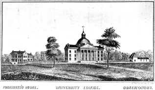 Lithograph Print of the University of Missouri Campus, ca. 1850