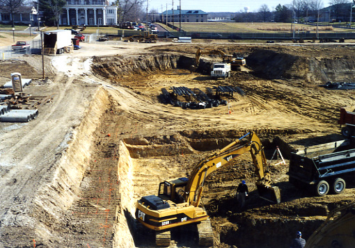 excavation work at start of construction phase in 2002