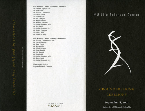 groundbreaking program for the life sciences center, 2001