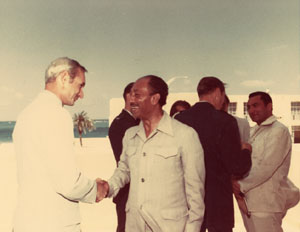 Department of Defense travel - Sanders with Anwar Sadat, Hosni Mubarak, and others