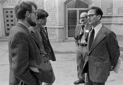 George Redei (right) in discussion with colleagues at the 5th Stadler Genetics Symposium at the University of Missouri in 1973