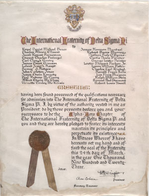 image of Delta Sigma Pi charter for the Alpha Beta chapter