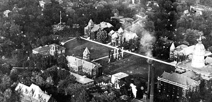 Detail from an aerial photograph of UMC's Red Campus, 1919