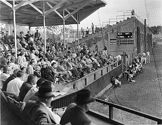Spectators at baseball game, Rollins Field