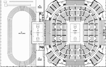 Plan of interior of Hearnes Center and Fieldhouse