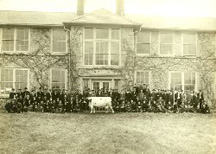 Dairy Short Course Students with 'Old Jo,' ca. 1910-1911