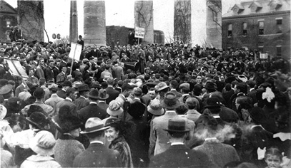 Mass Meeting of MU Boosters Before the MU vs. KU Homecoming Game, 1913.