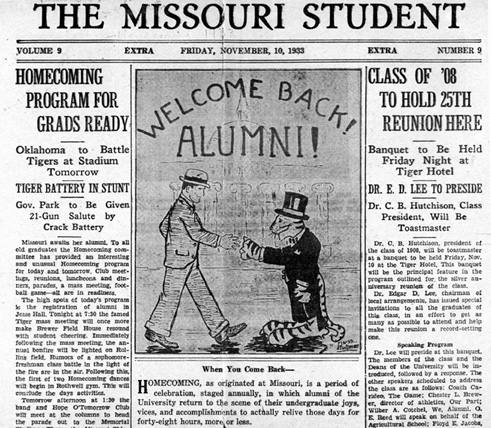 The Missouri Student Welcomes MU Graduates to Homecoming, 1933