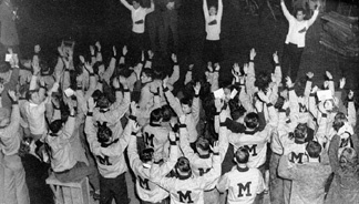 Homecoming Romp, Stomp, Chomp! Rally in Brewer Field House, 1946