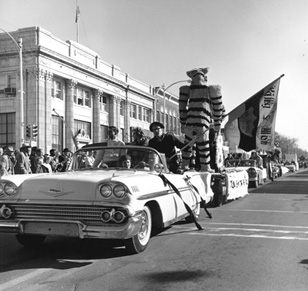 The 1963 Homecoming Parade Draws Crowds in Downtown Columbia
