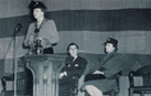 Eleanor Roosevelt addresses a student assembly