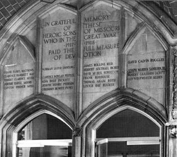 Inscription above entrance to Memorial Union