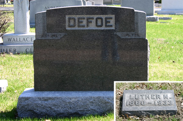 grave stone of luther defoe