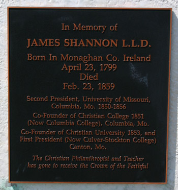 plaque on gravestone of james shannon