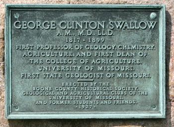 plaque on gravestone of george clinton swallow