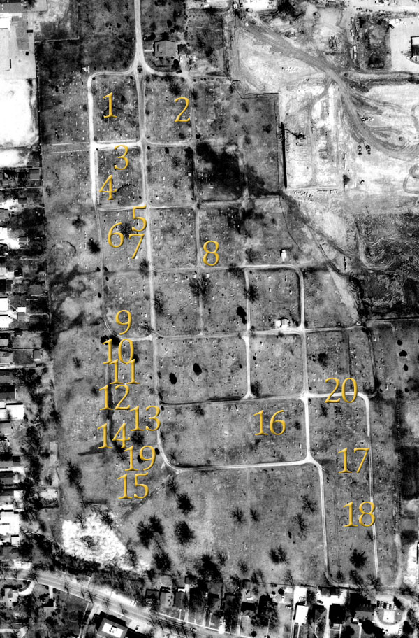 aerial photo of columbia cemetery circa 1969