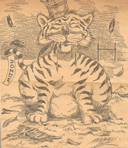 Tiger eating Jayhawk cartoon, 1909
