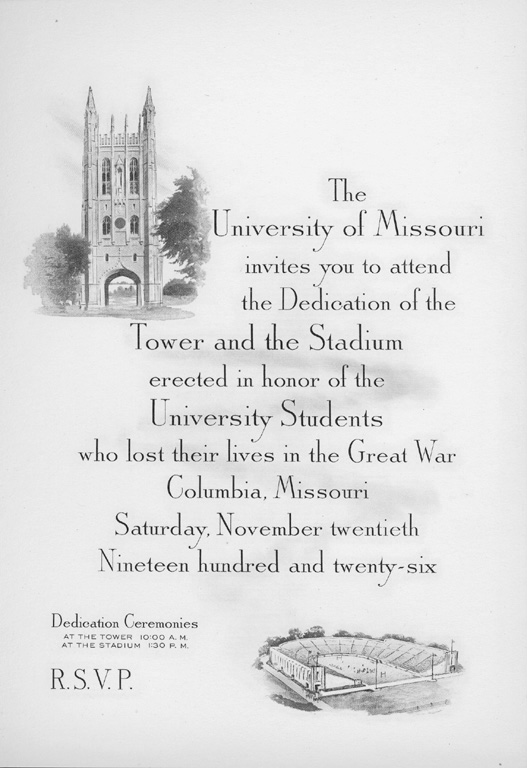 Meet me at the union invitation to memorial tower dedication stopboris Choice Image