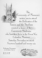 Invitation to Memorial Tower Dedication