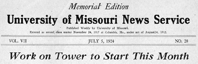 University of Missouri News Service Headline, 07/05/1924