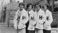 Four members of the women's 'M' Club, ca. 1928