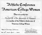 Certificate, Athletic Conference of American College Women
