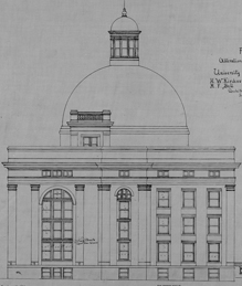 A design for the addition and renovation of Academic Hall from the architectural studio of H. W. Kirchner and M. F. Bell, circa 1885.
