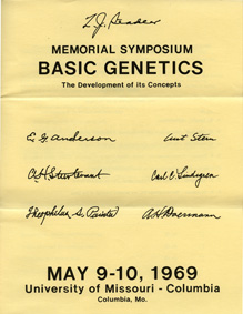 The front of the brochure for the first Stadler Genetics Symposium at the University of Missouri, 1969.