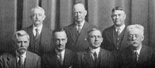 Six members of the Memorial Committee of Nine as depicted in the 1929 Savitar, including Luther M. Defoe on the lower left. The Committee consisted of three alumni, three faculty, and three students. Also included is R. L. Hill (back row, right), Alumni Recorder and the secretary of the Committee.