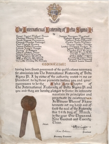 Charter of the University of Missouri's Alpha Beta Chapter of the Professional Business Fraternity Delta Sigma Pi, 1923.