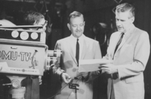 Edward Lambert (right) in the KOMU-TV Studio, ca. 1955