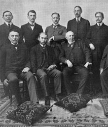 Midwestern University Presidents meet at MU in 1904. Richard Jesse is second from left in front row.