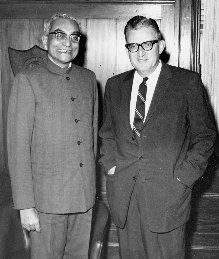 The Honorable R. N. Singh Deo, Chief Minister of Orissa meets with University President John Weaver, 1969