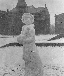 The 'Snow Woman', an ice sculpture on the Quadrangle photographed by Roy Florea, 1909
